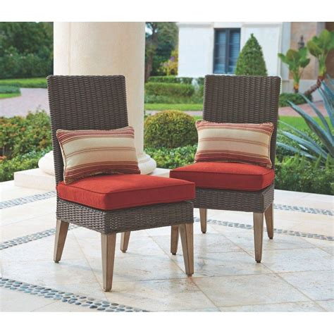 patio dining chairs home decorators collection naples spice armless outdoor dining chairs with cushions 2 pack