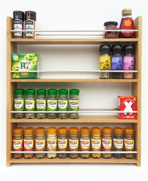 Spice Rack For Large Bottles Contemporary Open Top Solid Oak Spice Racks 4 Shelves