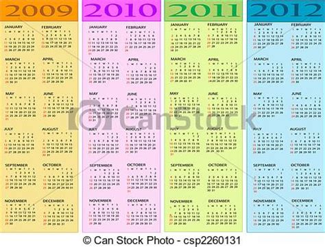 Calendario 2009 Y 2010 Clipart De Calendario Nuevo A 241 O 2009 2010 2011 2012