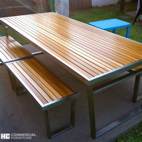 Metal Outdoor Patio Furniture by Teakwood Stainless Steel Table Set Hccf Commercial Furniture