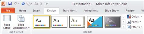powerpoint design tab saving themes in powerpoint word and excel 2010