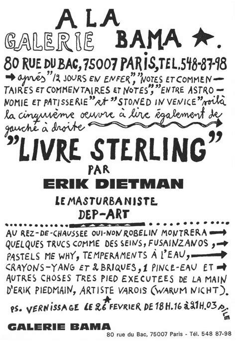 sterling testo livre sterling par erik dietman le masturbaniste dep