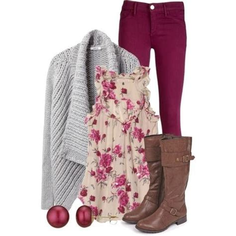 Kemeja Floral Brown Maroon floral print top grey sweater burgundy brown boots my style