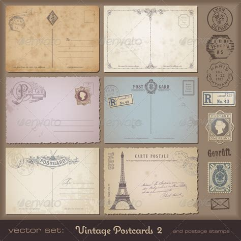 20 Cool Vintage Postcards Templates Vintage Card Templates