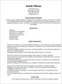 Logistics Description Template by Professional Logistics Specialist Resume Templates To