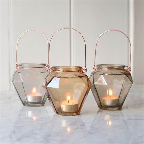 prism glass hanging tealight holder by lilly