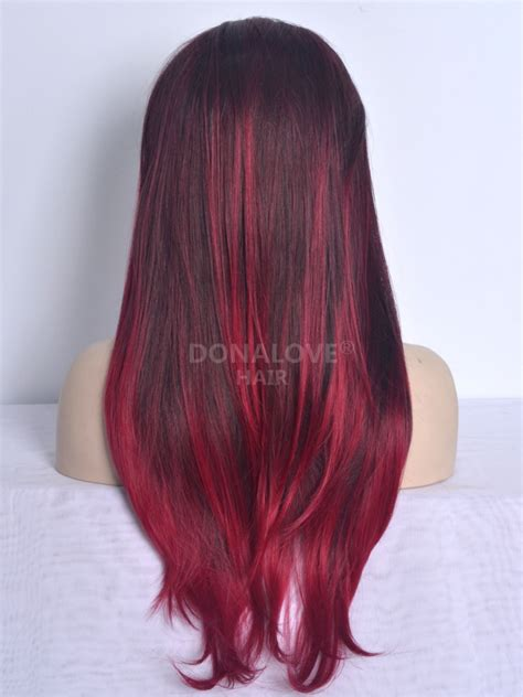waist length ombre red ombre waist length straight synthetic lace wig sny022