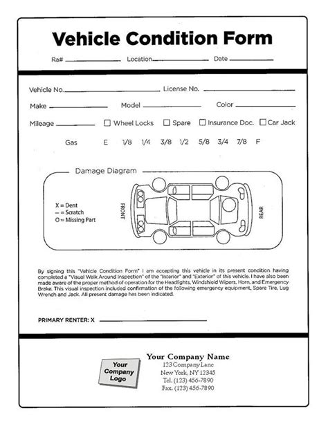car damage report template vehicle damage inspection form vehicle ideas