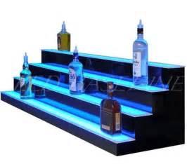 led bar shelves 90 quot 4 step led lighted bar shelf for displaying glass