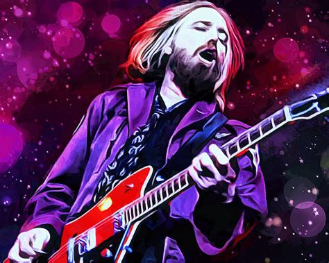 Guitar Duvet Cover Tom Petty Painting Digital Art By Scott Wallace