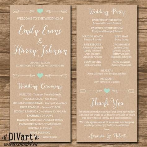 Rustic Wedding Program, Ceremony Program   PRINTABLE Files
