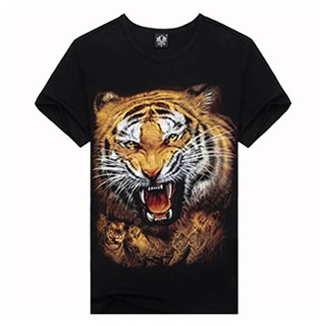 P O D 03 Mens T Shirt casual mens 3d animal printed shirts cozy crew neck top