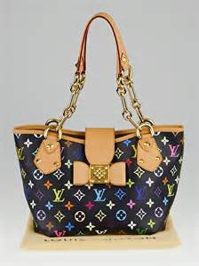 louis vuitton black monogram multicolore annie mm tote bag