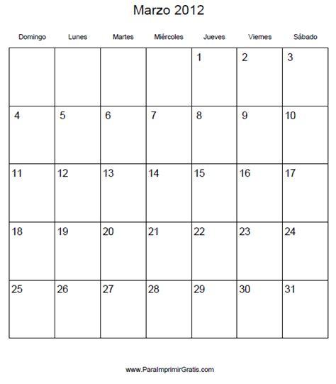 Calendario Marzo 2012 Calendario Marzo 2012 Para Imprimir Gratis