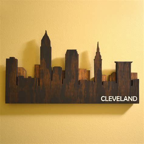 In Cleveland Wall Layered Cleveland Skyline Wall By Ohiowallart On Etsy