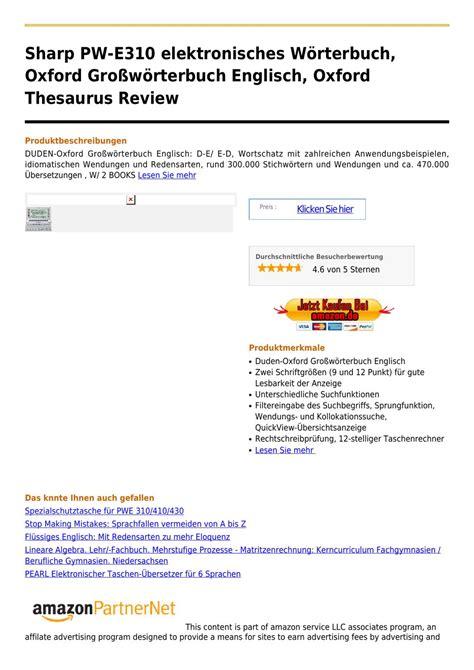 Elektronisches Wörterbuch Englisch 97 by Sharp Pw E310 Elektronisches W 195 182 Rterbuch Oxford Gro 195 ÿw 195