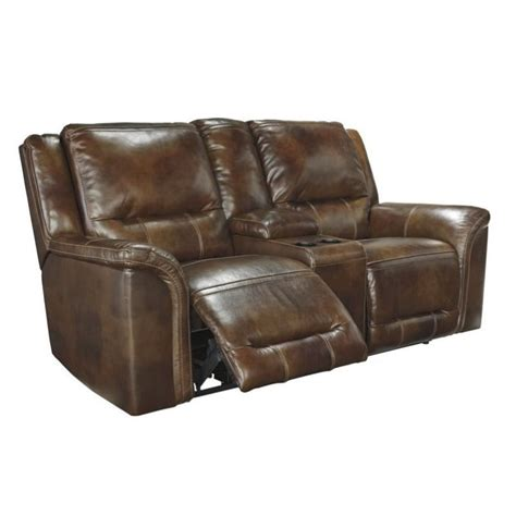 ashley double recliner ashley jayron leather double reclining console loveseat in