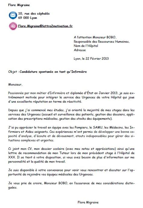 Exemple Lettre De Motivation Candidature Spontan E Hopital Lettre Spontan E De Motivation