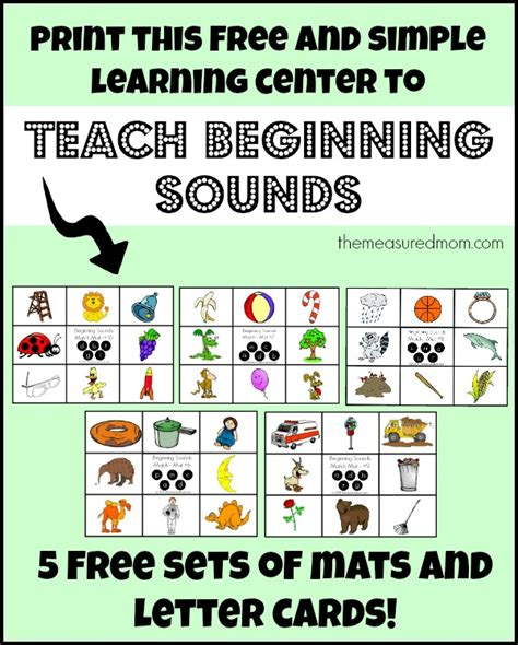 printable alphabet letters and sounds free beginning sounds activities five more match mats