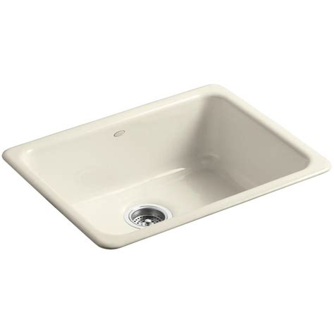 Cast Iron Kitchen Sinks Undermount Kohler Iron Tones Drop In Undermount Cast Iron 24 In Single Bowl Kitchen Sink In Almond K 6585