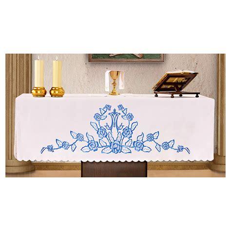 blaue krabben dekorationen altartuch 165x300cm blaue dekorationen und mariensymbol