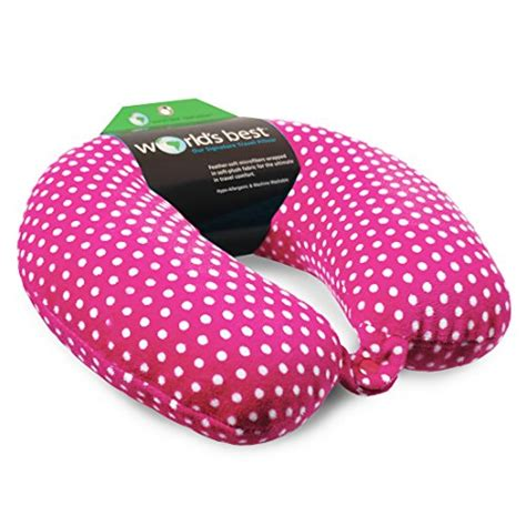 Mini Polka Pink 033 world s best mini polka dot feather soft microfiber neck pillow pink health personal
