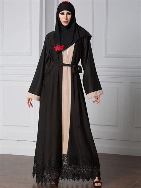 Dress Muslim Elvisa Set Wholesale Contrast Color Saudi Black Maxi Dress