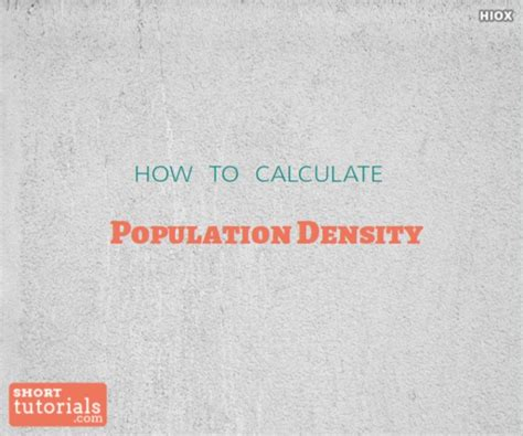 how to calculate population density