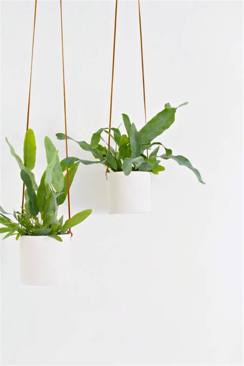 hanging plants diy leather and clay hanging planters burkatron