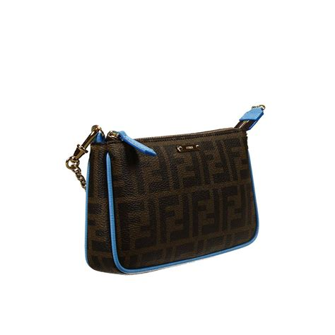 And Fendi Zucca For American Eagle by Fendi Clutch Bag Mini Zucca Pu Crossbody With Contrast In