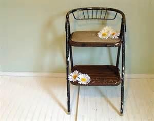 vintage metal folding step stool retro black by divineorders