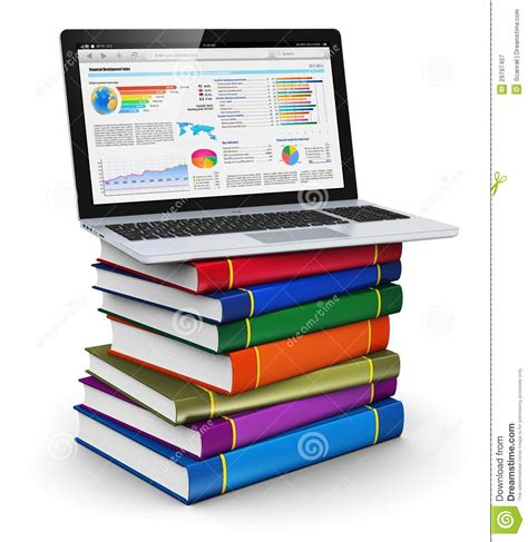 education books laptop on stack of color books stock illustration