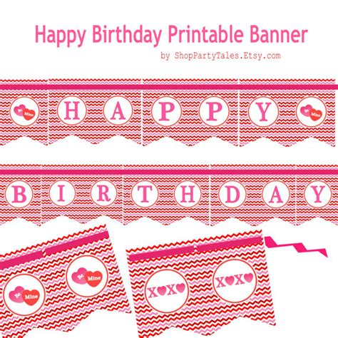 xoxo printable banner items similar to valentine s day printable happy birthday