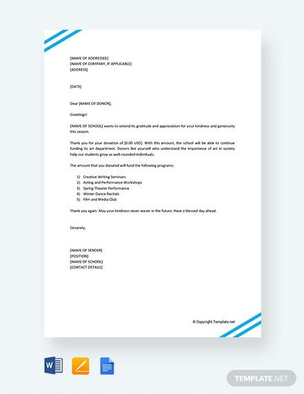 letter donation school template