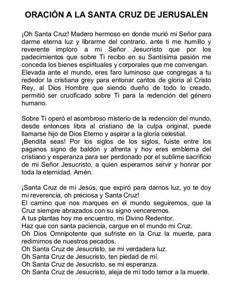 la oracion de santa cruz santa cruz jerusalen oracion