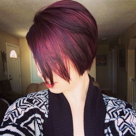 Pixi Cuts Cherry Brown And Blonde | dark cherry plum long pixie cut make up hair