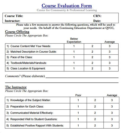 evaluation form template course evaluation 5 free for pdf