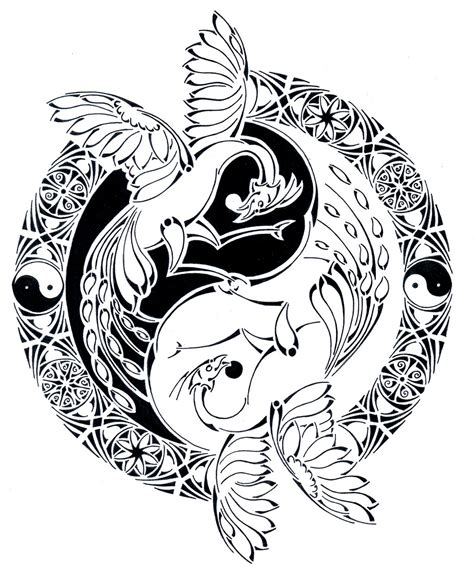 tribal yin yang phoenix battle by curvy tribal on deviantart