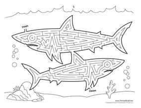 shark maze tim s printables