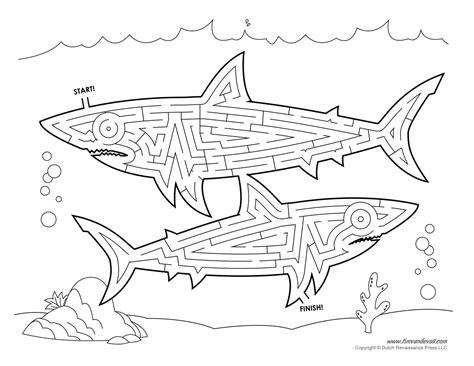 Printable Shark Maze | shark maze tim s printables