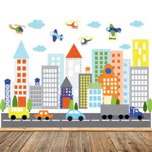 Wall Art Stickers Kids kids vinyl wall sticker decal art city buildings with cars