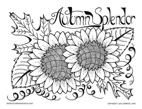 autumn coloring pages for adults free autumn splendor color sheet oak leaves sunflowers and