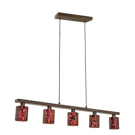 Eglo Island Lighting Eglo Troya 5 Light Antique Brown Hanging Ceiling Island Light With Mosaic Glass Shade 20965a