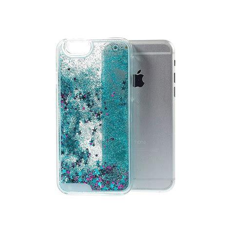 coque liquide avec paillettes  etoiles bleu pour iphone