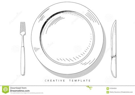 blank phlet template set sketch cutlery plate fork and knife template for