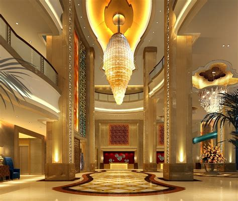 Hotel Lobby Design Golden Luxury Hotel Lobby Ceiling And Pillars 3d House Free 3d House Pictures And Wallpaper