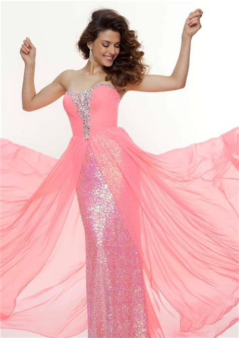 light pink flowy dress sheath sweetheart long pink sequined flowy prom dress with