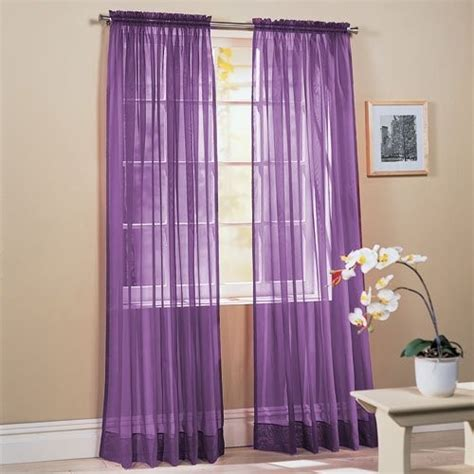 purple window curtains 2 piece solid lavender purple sheer window curtains