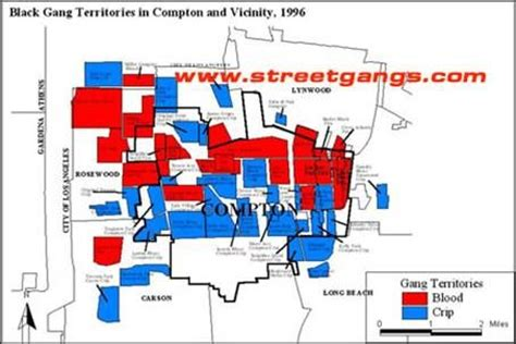 california gangs map black territories in compton and vicinity 1996
