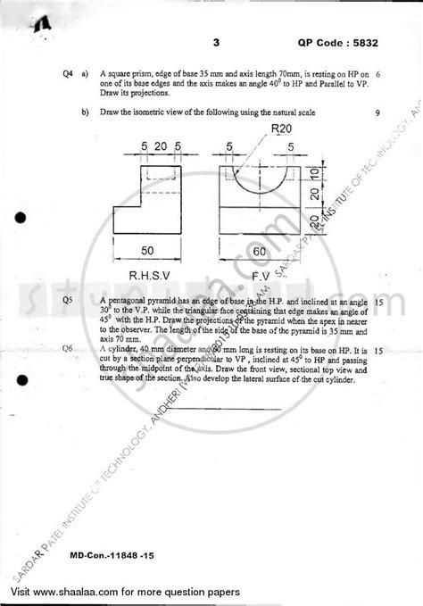 engineering drawing    production engineering semester  fe  year cbgs question